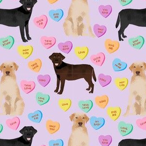labrador hearts fabric -  candy hearts fabric, dog fabric, labradors valentines day fabric - pastel candy hearts fabric - purple