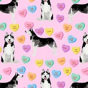 husky dog candy hearts fabric - conversation hearts fabric, valentines day fabric, husky husky dog fabric, huskies, cute husky - pink