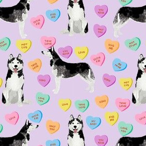 husky dog candy hearts fabric - conversation hearts fabric, valentines day fabric, husky husky dog fabric, huskies, cute husky - purple
