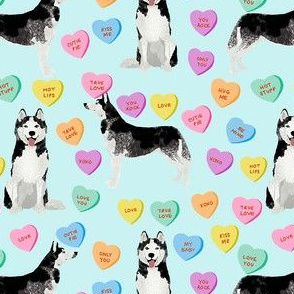 husky dog candy hearts fabric - conversation hearts fabric, valentines day fabric, husky husky dog fabric, huskies, cute husky - blue