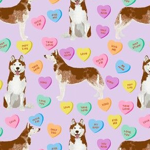 husky dog candy hearts fabric - conversation hearts fabric, valentines day fabric, red husky husky dog fabric, huskies, cute husky - purple