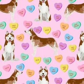 husky dog candy hearts fabric - conversation hearts fabric, valentines day fabric, red husky husky dog fabric, huskies, cute husky - pink