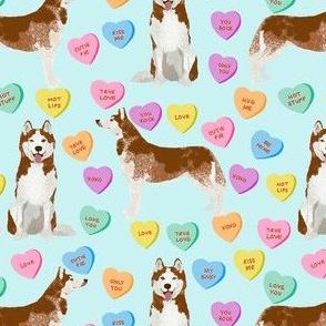 husky dog candy hearts fabric - conversation hearts fabric, valentines day fabric, red husky husky dog fabric, huskies, cute husky - light blue