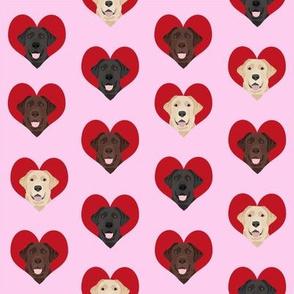love labradors heart pattern fabric - labrador fabric,, dog fabric, valentines fabric, heart fabric, love dogs fabric, cute fabric - pink