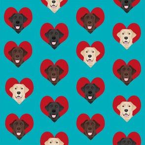 love labradors heart pattern fabric - labrador fabric,, dog fabric, valentines fabric, heart fabric, love dogs fabric, cute fabric - teal