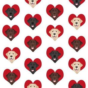 love labradors heart pattern fabric - labrador fabric,, dog fabric, valentines fabric, heart fabric, love dogs fabric, cute fabric - white