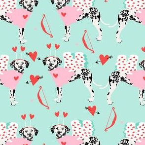 dalmatian cupid dog pattern fabric - dalmatian fabric, love bug fabric, cupid dog fabric, dog fabric, dog valentines fabric -  mint