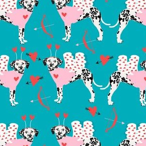 dalmatian cupid dog pattern fabric - dalmatian fabric, love bug fabric, cupid dog fabric, dog fabric, dog valentines fabric - teal