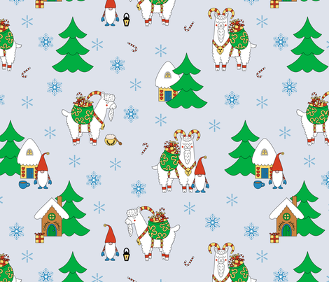 Yule Goat: Ice Blue fabric by thimblefolio on Spoonflower - custom fabric