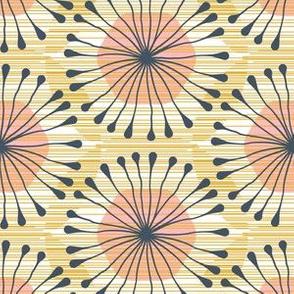 Hex Bloom (mustard, pink, blue)