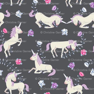 Floral Unicorns: Grey