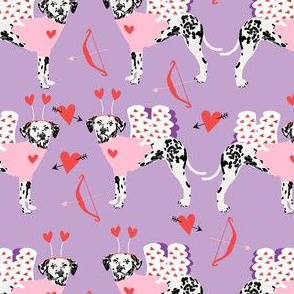 dalmatian cupid dog pattern fabric - dalmatian fabric, love bug fabric, cupid dog fabric, dog fabric, dog valentines fabric - purple
