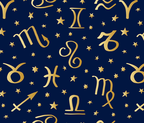 astrology golden signs and stars on navy blue fabric by inotra on Spoonflower - custom fabric