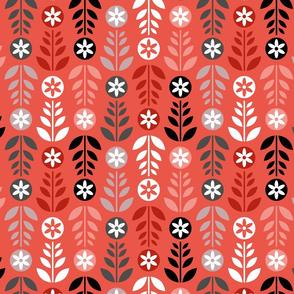 Scandinavian Flowers Red