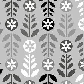Scandinavian Flowers Silver Large