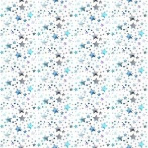 Stars - watercolour blue - tiny scale