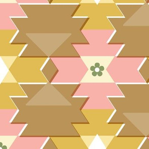 Colt* (Maxi Bean with Bacon) || western southwest blanket tribal Native American geometric diamonds triangles flowers mustard gold coral