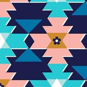 Colt* (Maxi Jackie Blue) || western southwest blanket tribal Native American geometric diamonds triangles flowers coral turquoise aqua