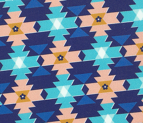 Bighorn* (Midi Jackie Blue) || western southwest blanket tribal Native American geometric diamonds triangles flowers coral turquoise aqua