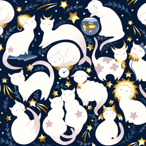 Zodiac cats fabric by elena_naylor on Spoonflower - custom fabric