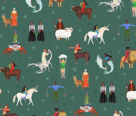 Warrior Women of the Zodiac fabric by dasbrooklyn on Spoonflower - custom fabric
