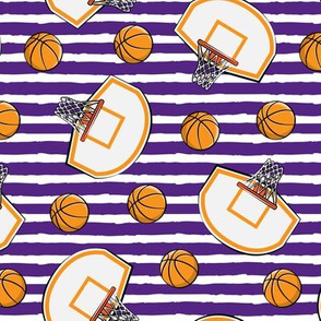Basketball & Hoops - Purple Stripes Toss - Sports Themed