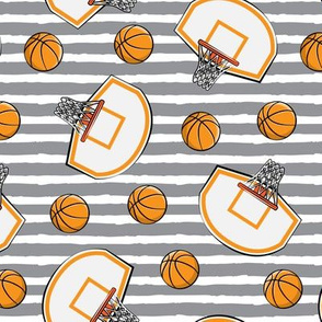 Basketball & Hoops - Grey Stripes Toss - Sports Themed