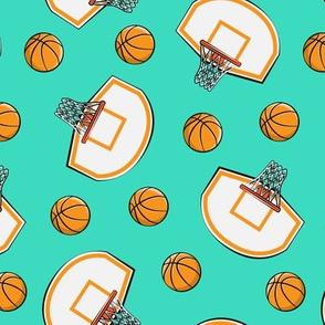 Basketball & Hoops - Teal Toss - Sports Themed
