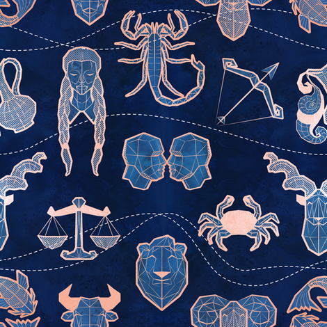 Geometric astrology zodiac signs // small scale // navy blue and coral fabric by selmacardoso on Spoonflower - custom fabric