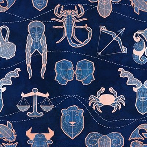 Geometric astrology zodiac signs // small scale // navy blue and coral