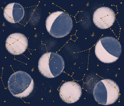 Zodiac Constellations with moon phases fabric by tarareed on Spoonflower - custom fabric