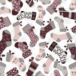 Christmas Stockings - Purple and Grey
