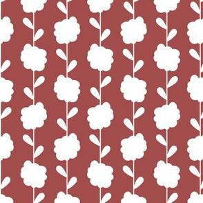 Scandi Flowers - Blue and Orange - Flower Stripe Coordinate