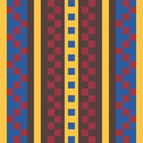 Zipper Zing Stripes in  Jester Red - Princess Blue - Aspen Gold - Brown Granite