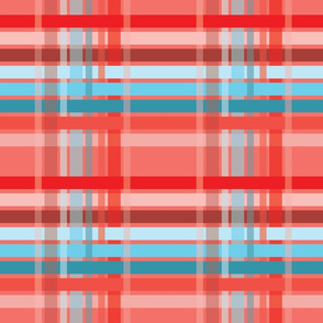 Living Coral Large Smooth Plaid