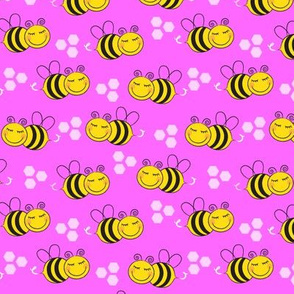 medium bees-with-hexagons-on-pink