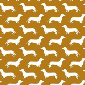 Dachshund Breed - Weiner dog fabric - dark mustard