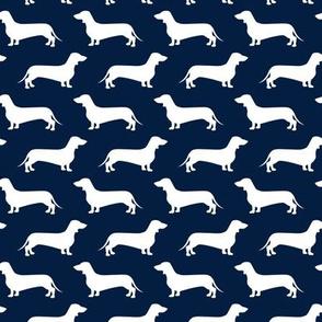 Dachshund Breed - Weiner dog fabric - navy