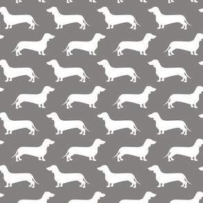 Dachshund Breed - Weiner dog fabric - grey