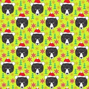 small christmas bears on neon green