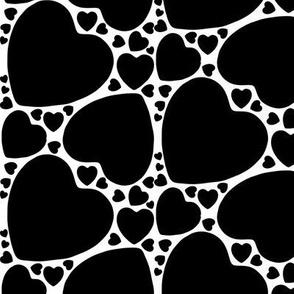 Black hearts on White
