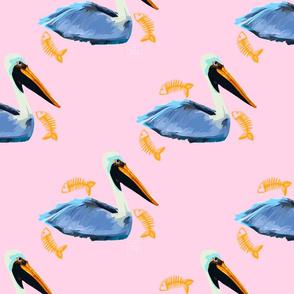 Pelicans in Pink