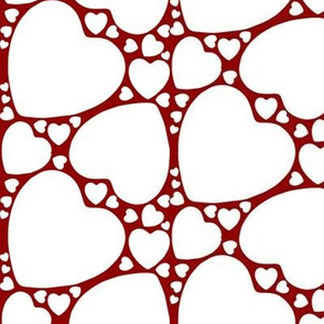 White hearts on Red