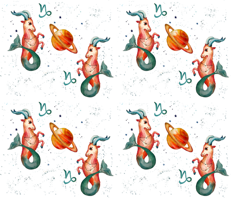 Capricorn the Sea Goat fabric by trizzuto on Spoonflower - custom fabric