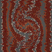 Red Gray Cream Snakeskin Mosaic
