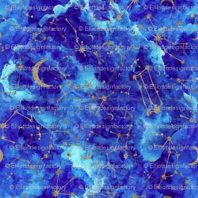 Celestial Zodiac Constellations in Midnight Watercolor