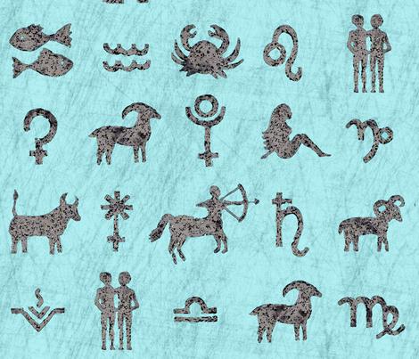Astrology symbols L fabric by lucybaribeau on Spoonflower - custom fabric