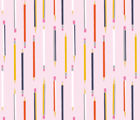 pencil pen school STEM drawing fabric by paperandpickles on Spoonflower - custom fabric