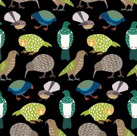 Cute New Zealand birds - black fabric by rebeccatiana on Spoonflower - custom fabric