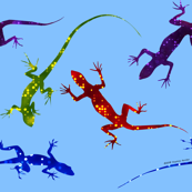 Colorful Spotted Lizards on Light Blue